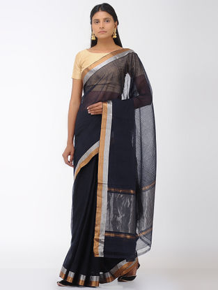 Black Mangalgiri Cotton Saree with Zari Border