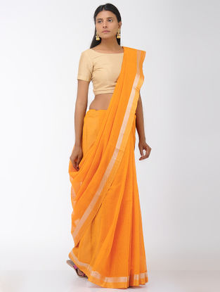 Mustard Missing Checks Mangalgiri Cotton Saree with Zari Border
