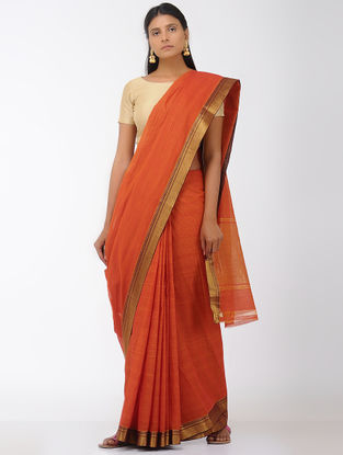 Orange Missing Stripes Mangalgiri Cotton Saree with Zari Border