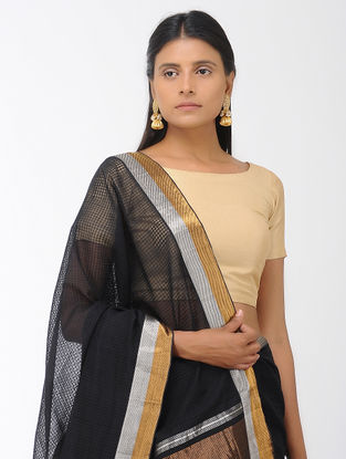 Black Missing Checks Mangalgiri Cotton Saree with Zari Border