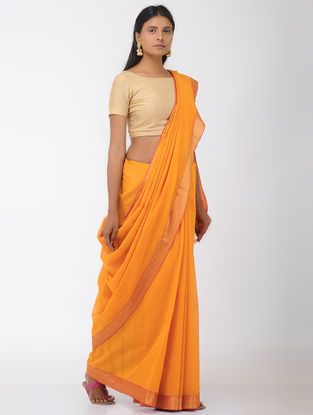 Mustard Mangalgiri Cotton Saree with Zari Border