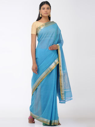 Blue Missing Checks Mangalgiri Cotton Saree with Zari Border