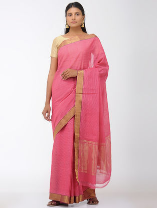 Pink Missing Stripes Mangalgiri Cotton Saree with Zari Border