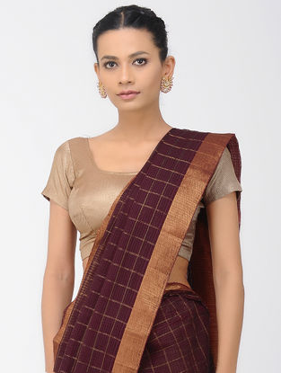 Burgundy Missing Checks Mangalgiri Cotton Saree with Zari Border
