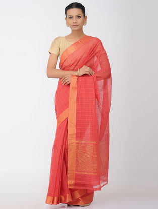 Red Missing Checks Mangalgiri Cotton Saree with Zari Border