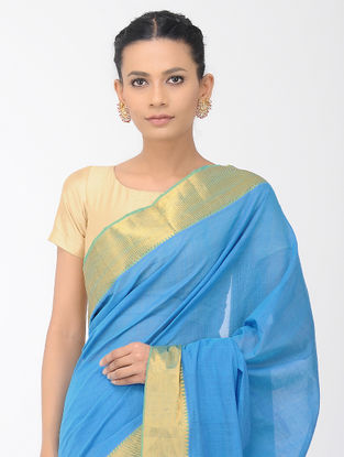 Blue Mangalgiri Cotton Saree with Zari Border
