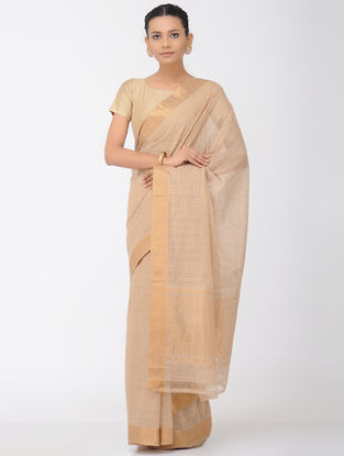 Beige Missing Checks Mangalgiri Cotton Saree with Zari Border