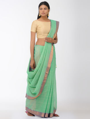 Green Mangalgiri Cotton Saree with Zari Border