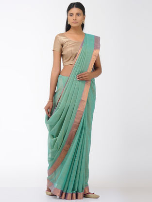 Sea Green Missing Checks Mangalgiri Cotton Saree with Zari Border