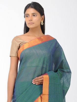 Blue-Green Missing Stripes Mangalgiri Cotton Saree with Zari Border