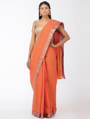 Orange Missing Checks Mangalgiri Cotton Saree with Zari Border