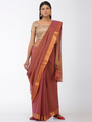 Pink-Orange Missing Checks Mangalgiri Cotton Saree with Zari Border