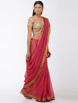 Pink Missing Checks Mangalgiri Cotton Saree with Zari Border