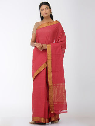 Red Missing Stripes Mangalgiri Cotton Saree with Zari Border