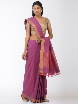 Magenta Mangalgiri Cotton Saree with Zari Border