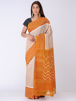 Beige-Orange Ikat Cotton Saree