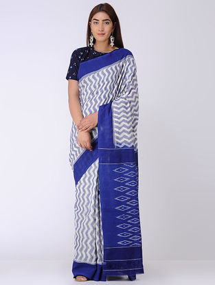 Ivory-Blue Ikat Cotton Saree
