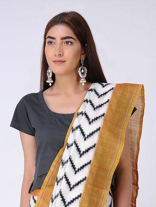 Ivory-Ochre Double Ikat Cotton Saree