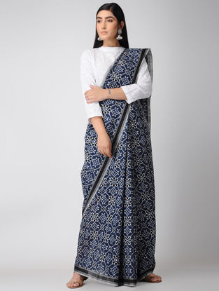 Blue-Ivory Telia Rumal Cotton Saree