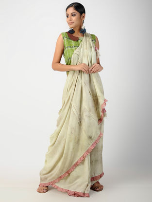 Ivory-Pink Natural-dyed Hand-embroidered Cotton Silk Saree
