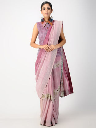 Pink-Ivory Natural-dyed Hand-embroidered Chanderi Saree