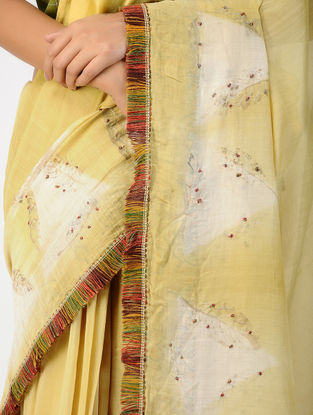 Yellow-Ivory Natural-dyed Hand-embroidered Chanderi Saree