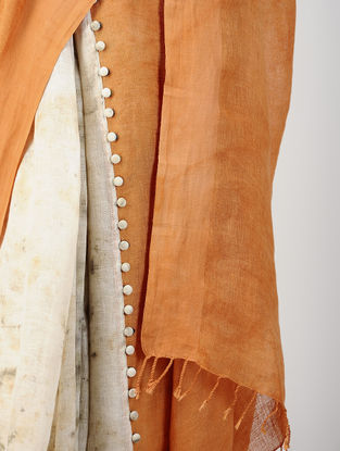 Orange-Ivory Natural-dyed Hand-embroidered Cotton-Linen Saree