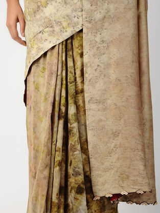 Beige-Green Natural-dyed Hand-embroidered Chanderi Saree