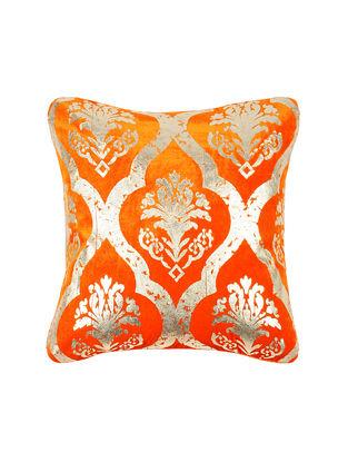 Orange Foil-printed Velvet Cushion Cover (16in x 16in)