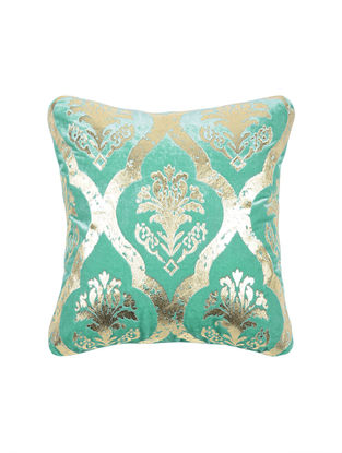 Turquoise Foil-printed Velvet Cushion Cover (16in x 16in)