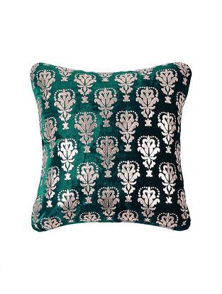 Green Foil-printed Velvet Cushion Cover (16in x 16in)