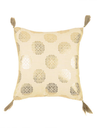 Beige-Golden Foil-printed Crepe Cushion Cover with Tassels (16in x 16in)