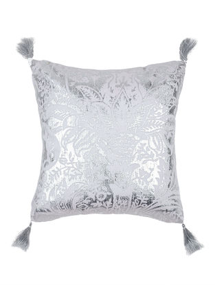 Silver-White Foil-printed Crepe Cushion Cover with Tassels (16in x 16in)