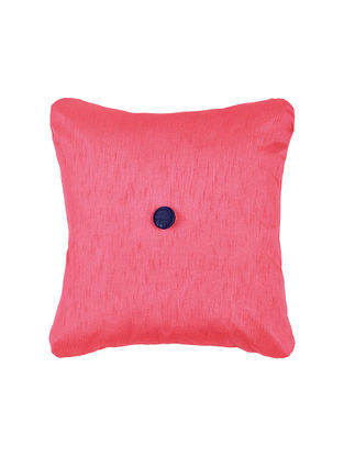 Fuchsia Silk Cushion Cover with Button (16in x 16in)