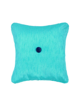 Turquoise Silk Cushion Cover with Button (16in x 16in)
