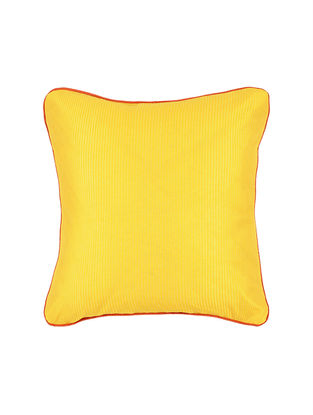 Yellow Crepe Cushion Cover with Piping(16in x 16in)