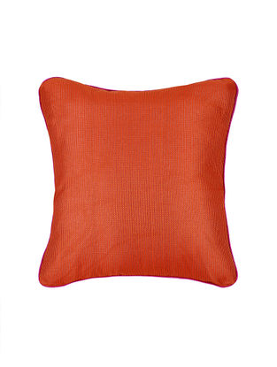 Orange Crepe Cushion Cover with Piping (16in x 16in)