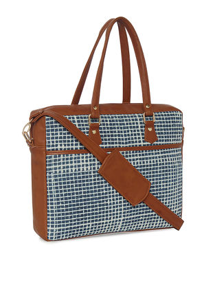 Blue Checkered Handcrafted Laptop Bag