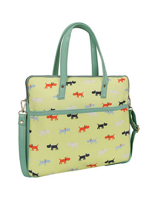 Yellow Printed Laptop Bag