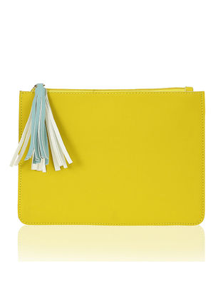 Yellow Handcrafted Flat Pouch