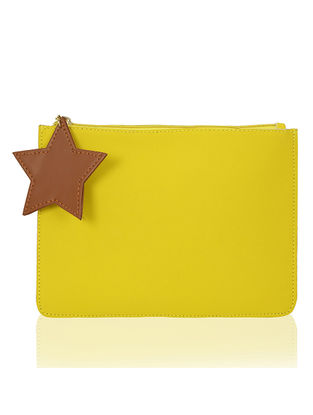Yellow Handcrafted Flat Pouch with Tassel