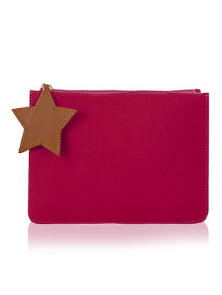Pink Handcrafted Flat Pouch with Tassel