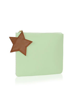 Mint Green Handcrafted Flat Pouch with Tassel