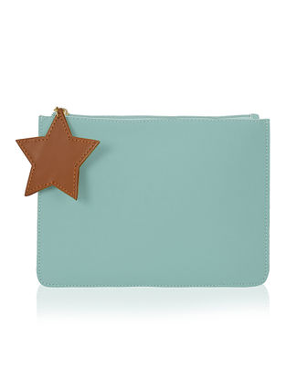 Blue Handcrafted Flat Pouch with Tassel