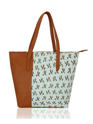 Tan-Blue Handcrafted Cotton Tote