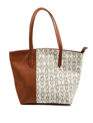 Ivory-Brown Printed Cotton Tote