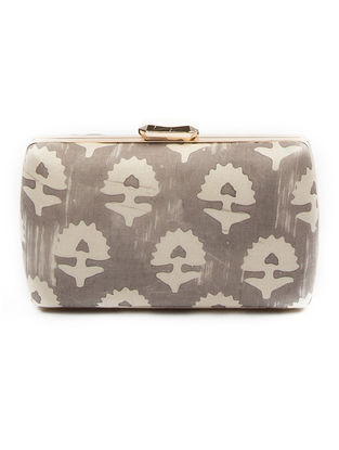Grey Printed Gajji Silk Clutch