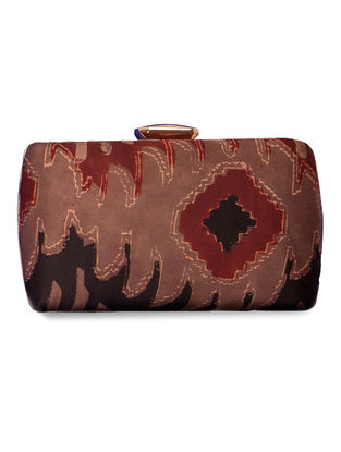 Maroon-Black Printed Gajji Silk Clutch