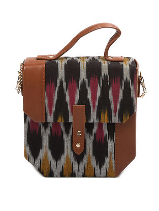 Black-Tan Ikat Cotton Hexa Sling Bag