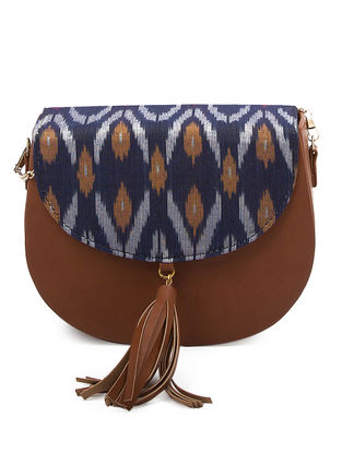 Blue-Tan Ikat Cotton Sling Bag